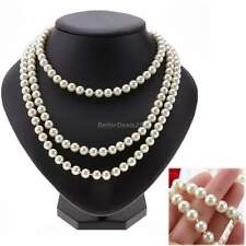 White Handmade Long Peach Baroque Cultured Freshwater Pearl Beads Necklace Chain