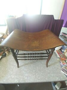 ANTIQUE EARLY AMERICAN THEBES STOOL SOLID OAK WITH TIGER OAK VENEER CURVED SEAT