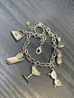 Vintage Silver Tone Charm Bracelet Dress shoe martini cell phone purse Glasses