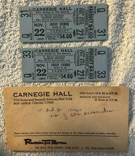 "JOHN F. KENNEDY RARE 11/22/63 CARNEGIE HALL ""PRESS"" TICKETS (2) W/ORIG. ENVELOPE"