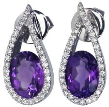 Amethyst and Diamond Gemstone 18ct White Gold Earrings