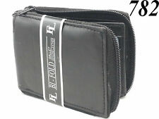 New Mens Genuine Leather Zip Secure Zipper Around Wallet Black Billfold Coin Key