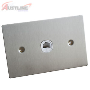 RJ45 Cat 6 Cat6 1Port Flat Brushed Stainless Steel Wall Plate Clipsal Style Slim