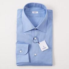 NWT $350 BARBA NAPOLI Solid Medium Blue Cotton Dress Shirt 18 x 37 Handmade