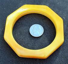 """Vintage 40s Plastic Yellow Color Octagon Shape 2 1/2""""d x 3/8"""" Bangle Bracelet"""