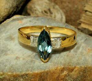 Swiss Blue Topaz Marquise Gemstone Gold Plated 925 Solid Silver Women Ring