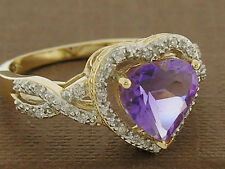 R206- Genuine SOLID 9K Gold NATURAL Amethyst & Diamond Ring LOVE HEART size M