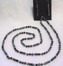 "32"" HAND KNOTTED SNOWFLAKE OBSIDIAN GEMSTONE BEADED NECKLACE & EARRING SET"