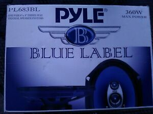 """NEW in Box PYLE Blue Label one PAIR 6""""x 8"""" Three way Triaxial Speakers PL683BL"""