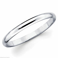 Solid White Gold 10K Women Ladies Girl Wedding Anniversary Band Ring 2mm Size 9