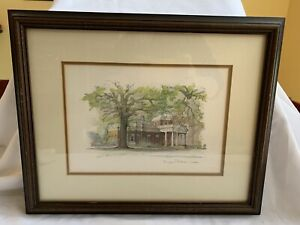 "Thomas Jefferson's Monticello Mads Stage, Framed 17.5"" x 14.5"" Matted"