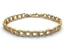 "14k Yellow Gold Solid Diamond Cut Horse Shoe Bracelet 7.25"" 6.4mm 9 grams"