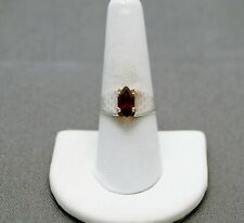 STERLING SILVER RED GARNET STONE HEART ETCHING ACCENTS RING  7.75#FMF989