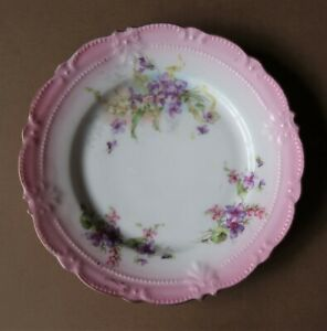 **Vintage 18cm Wide Pink, White & Purple Plate Decorated With Violets Circa 1910