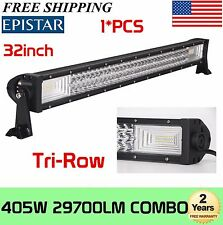7D+ 32inch 405W Tri-Row LED Work Light Bar Offroad Combo Work Driving 4WD Slim