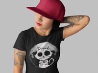 Zombie Cat T-Shirt Womens Ladies Gothic punk rock emo Kitty Nightmare