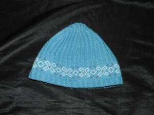 Columbia Convert Light Blue Beanie Hat Knit Cap Canada Made Textured Fair Isle