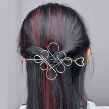 New Womens Silver Plated Hollow Chinese Knot Barrette Hair Pin Stick Slide Clip