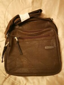 Playboy Collection Mens Mini Messenger Bag - Suede Effect - Brown.