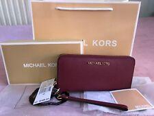 Genuine Michael Kors Merlot Wristlet Saffiano Leather Jet Set  Purse Wallet