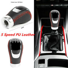 Black PU Leather 5 Speed Manual Gear Shifter Shift Lever Knob Cover For Car SUV