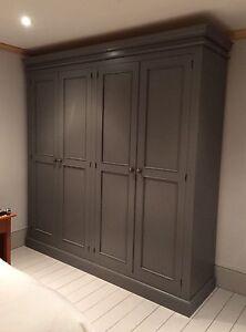 Painted Edwardian Full Hanging 4 Door Wardrobe