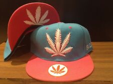 marijuana snapback weed leaf blue Fluro Pink hat One Size For Most Free Shipping