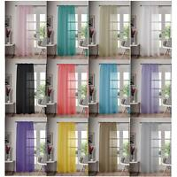 Single Panel Slot Top Voile Curtain Pole Rod Pocket Plain Colours Door Window