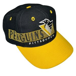 Vintage 90s PITTSBURGH PENGUINS Snapback Hat Cap Spell Out Embroidered The Game