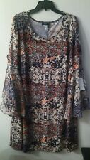MSK women's plus size 2X dress Bell Sleeve.Floral. NWT