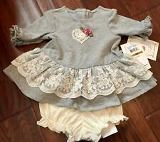 NWT Marmellata 2 Piece Gray Lace Ruffle Outfit 3 Months