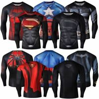 Men Compression T-Shirt Marvel Superhero Superman Top Long Fitness Wear Jersey