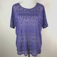 Chicos Womens Size 2 Purple Short Sleeve Open Weave High Low Hemline Shirt Top