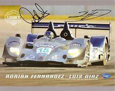 2008 ADRIAN FERNANDEZ LUIS DIAZ signed IMSA LE MANS PHOTO CARD POSTCARD INDY 500