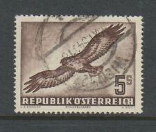 More details for austria - 1950, 5s, brown, common buzzard bird stamp - used - sg 1219
