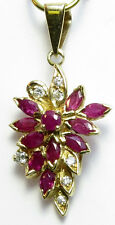 14K Solid Yellow Gold Genuine Ruby=1.20ct. and diamond Pendant