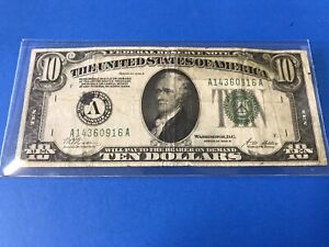 """1928 B $10 TEN DOLLARS FRN """"GOLD ON DEMAND"""" WITH TAPE.....Lot #48"""