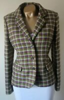 Blazer Jacket Dickens & Jones 14 100% Moon Wool Tweed Check Tailored Perfect