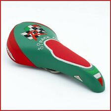 NOS SAN MARCO ROLLS DUE RACE DAY SADDLE VINTAGE 90s SEAT LEATHER RED GREEN BIKE