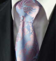 Pastel Sky Blue & Dusty Pink Tie Silk Floral Woven Wedding Paisley