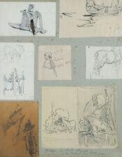HOGUET, 8 Studien v. Tieren, Menschen u. Schiffen, 19. Jh., Bleistift