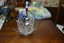 VINTAGE CUT GLASS SUGAR BOWL WITH SILVER PLATED HOLDER With SPOON HOLDER & Spoon