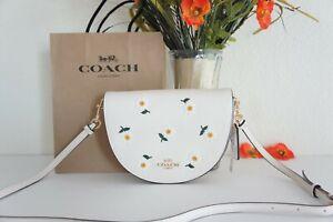 NWT Coach C2863 Ellen Crossbody With Daisy Embroidery Leather Chalk Multi $398