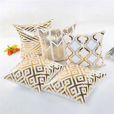 Square Gold Foil Printing Pillow Cover Pillowcase Cushion Car Home Tools MH