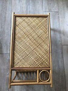 Vintage Bamboo Wicker Rattan Lap/Breakfast/Bed Serving Tray Magazine Holder