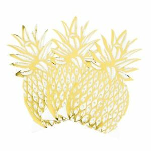 Gold Foil Pineapple Napkins Tropical Party x 12
