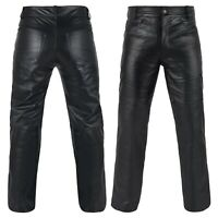 DEFY Men's 100% Genuine Cow Skin Full Grain Motorbike Leather Pant Jeans Style