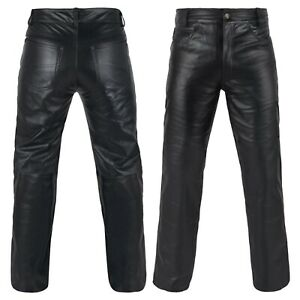 DEFY Men's 100% Genuine Cow Skin Full Grain Motorcycle Leather Pant Jeans Style