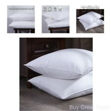 Queen Standard 2 Pack Feather Goose Down and Feather Bed Pillow Cotton Cover