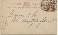 "GB 1891 QV 1/2d brown VF thick postcard barred Duplex-cancel ""LONDON-N / N / 19"""